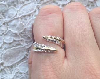 Gold & 925 silver feather ring