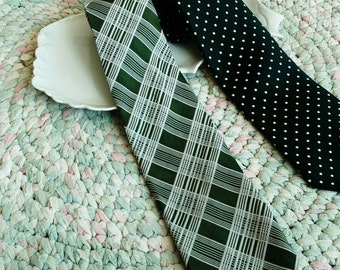 Retro Green Necktie Set of Two Green + White Ties - Polka Dot Tie, White With Green Plaid Wide Tie, Fathers Day, Gift for Dad, OOAK Gifts
