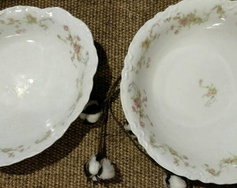 Bavarian Rose China Dinner Serving Bowls - Antique Fine China Serving Ware, Vintage Rose Bowls, Shabby Chic + Cottage Chic Rose Bowl Set