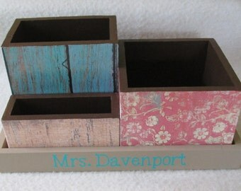 Personalized Desk Organizer - Office or Home Organizer - Pencil Holder Set - Wood Fence,  Vintage Floral,  Decoupaged - Gift