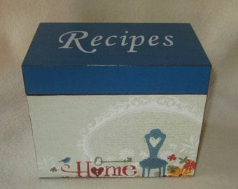Recipe Box, Personalized Wooden Recipe Box - Decoupaged -  Homemade by - Shower Gift - Wedding Gift
