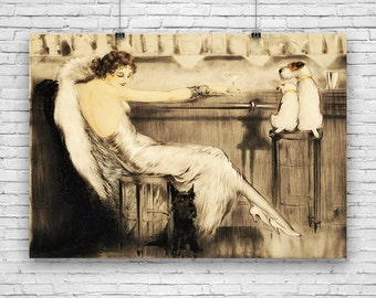 "Le Coktail by Louis Icart, French Nouveau, Art Print Poster 16""x20"""