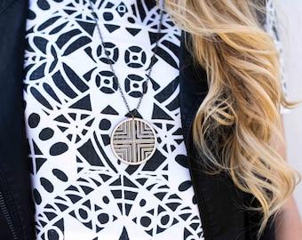 DAZZLER | long wood necklace, large cross pendant necklace, long necklace: laser cut wood necklace