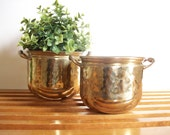 Pair of Vintage Brass Planters, Urns, Double Handled Flower Pots, Hollywood Regency, Hammered Brass