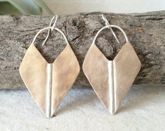 Artemis . Peachy Bronze and Sterling Silver Hammered and Brushed Earrings