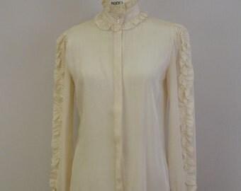 Vintage Ruffled Ecru Shirt