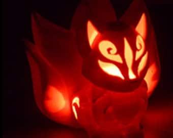 Chibi kitsune LED light holder ~ 3D print CAD model file + INTRUCTIONS