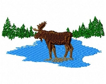 Moose Machine Embroidery Design - Instant Download