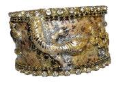 Real SNAKE Skin Cuff Bracelet gold brown Serpent shiny crystal rhinestones Swarovski bracelet fashion jewelry Etsy for women