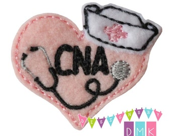 Nurse Heart - CNA - You CHOOSE Felt Color - Embroidered Embellishment Clippie Cover SET of 4  Multiple Sets Available