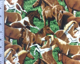Horse Fabric by the Yard, Wild Horses by Kevin Daniel, 100% Cotton, Brown and Green