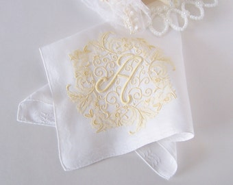 Wedding Handkerchief Monogrammed A in White with Yellow Something Old Vintage Hanky for a Bride's or Bridesmaid's Gift