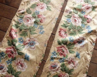Antique French fabric w roses decor romantic floral design satin fabric, vintage French sewing fabric patchwork upholstery supply supplies