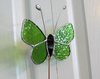 Stained Glass Butterfly Green English Muffle  - Jumbo Size 5 Piece with Black Cathedral Glass Body - Garden/Plant Stake - Memorial Marker