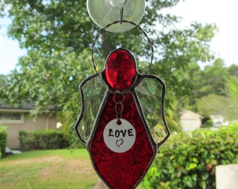 Stained Glass Scarlet Red Angel Ornament/Suncatcher - Package Embellishment - Gift tag -Faceted Scarlet Red Crystal Oval Head