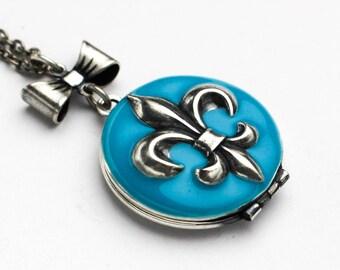Silver Fleur De Lis Locket, Blue Fleur De Lis Locket, Locket Necklace for Women, Aqua Locket, Resin Locket