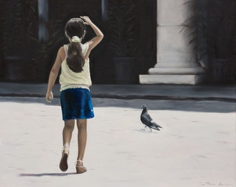 Child's play : Original oil figure painting , young Cuban girl and a pigeon