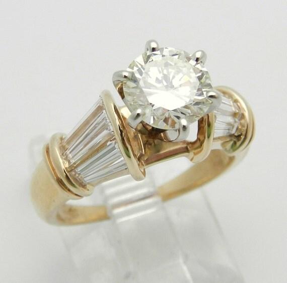 Diamond Engagement Ring 18K Yellow Gold 1.60 ct Genuine Natural EGL Certificate
