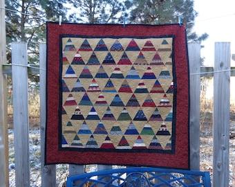 Scrappy Peaks Lap quilt, Scrappy Quilt, 0320-01