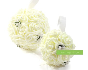 Ivory Kissing Ball with Pearls - Cream Pomander Ball - Rose Flower Ball