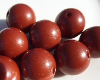 20mm, 10 CT,  Redish Brown Solid Gumball Beads, B19