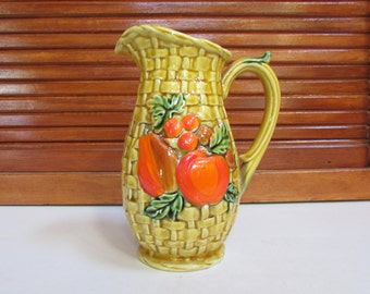 Fruit Wicker Lefton Pitcher or Planter