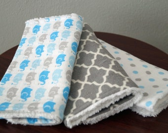 Baby Boy Burp Cloth Set - Blue and Gray Burp Cloths - Elephants - Polka dots - Baby Boy Gift Under 20 - Blue & Gray Nursery