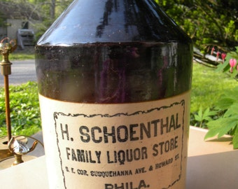 vintage antique ADVERTISING STONEWARE JUG 1 gal 1920s or so h schoenthal family liquor store philadelphia crock