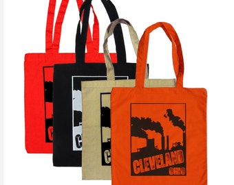 Cleveland Smokestacks Totes (on Orange, Natural Canvas, Black or Red)