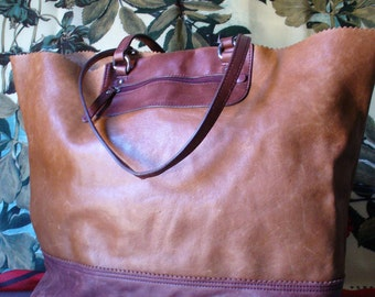 Banana Republic Distressed Leather X Large Tote Bag