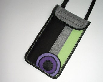 Cellphone Cover fits iPhone 6 Plus Smartphone neck case Crossbody Purse cell phone bag iPod Wallet mixed fabrics Gray Black Green Purple