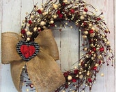 WREATH SALE READY To Ship - Valentine Wreath - Red Heart & Ivory Berry Wreath - Rustic Wreath - Pip Berry Wreath - Valentine Wreaths - Valen