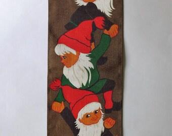 Vintage Swedish Tomte Gnome Christmas Wallhanging Signed HK