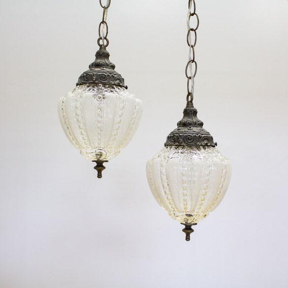 Vintage Pendant Lights Hanging Swag Lamps Set Of 2 Plug In