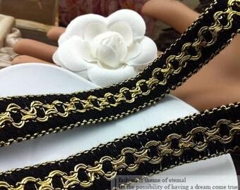 "10 yard 1.8cm 0.7"" wide black gold/silver braided lace trim ribbon 8pki free ship"