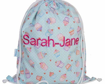 Personalised Swim Bag, Waterproof Backpack, Drawstring Bag - Cupcake