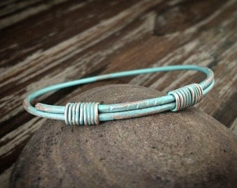 Verdigris Turquoise Patina Bangle - Rustic BOHO Wire Wrapped Copper Bracelet - Unique 7th Anniversary Jewelry Gift for Her
