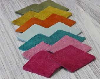 14pcs  Leather Squares, Colorful Suede  Genuine Leather