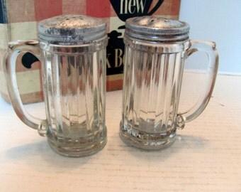Hoosier Salt and Pepper Shakers / Hoosier Style Salt and Pepper Shakers with Metal Lids