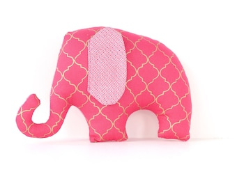 Elephant soft toy / plush toy for baby in pink and gold geometric pattern.
