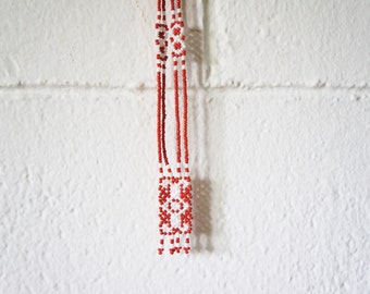 Beaded Necklace, Aztec, Southwestern, White + Red