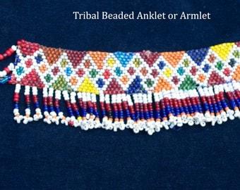 Vintage Kuchi Beaded Armlet Anklet Ankle Bracelet with Fringe Hippie Boho Gypsy Tribal Uber Kuchi®