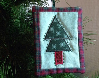 Quilted tree ornament teal and red plaid