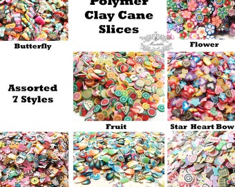 250/500/1000 PCS Mix Polymer Clay Cane Slices Assorted Kawaii Fimo Fruit Butterfly Bow Ribbon Heart Flower Sweets Nail Art Decoration PSC