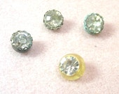 RESERVED 4 Vintage  Rhinestone Buttons - Shank Style - De-Stash No. 1687
