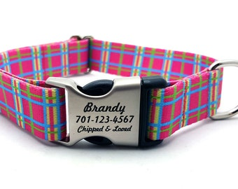 SPRING PLAID Polyester Webbing Dog Collar with Laser Engraved Personalized Buckle - PINK