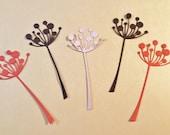 """5 Chloe Stem Flowers, Orange, Brown, Beige, Handmade, Sizzix, 4"""", Cardstock, Paper Cuts, Die Cuts"""