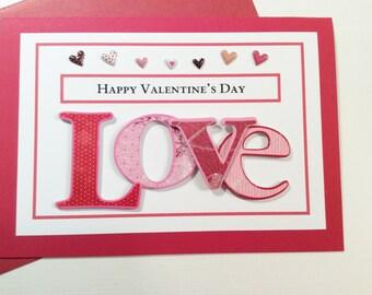 Handmade, Valentine's Day bCard, Red, Love, Hearts, Handmade, Embellishments, Blank