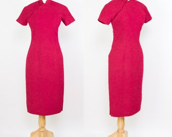 1950s Dress // Cheongsam Asian Fuchsia Wool and Silk Wiggle Dress
