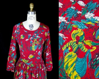 1940s Dress // Indian Novelty Print Turban Men Paisley on Red Rayon Dress